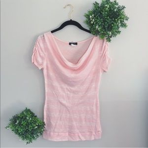 Deb pink ruched short sleeve top Sz large